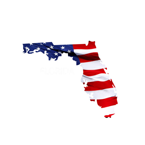 Florida Waving USA American Flag. Patriotic Vinyl Sticker