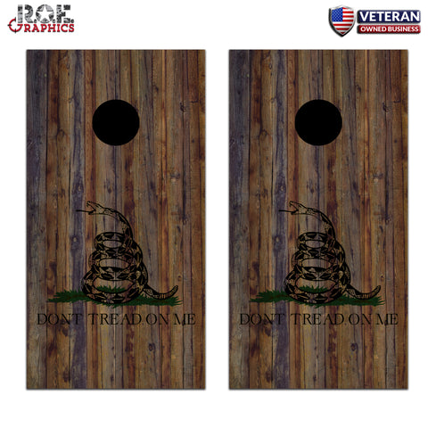 Gadsden Flag Don't Tread on me Wood Cornhole Board Bag Toss Wrap Set-patriotic