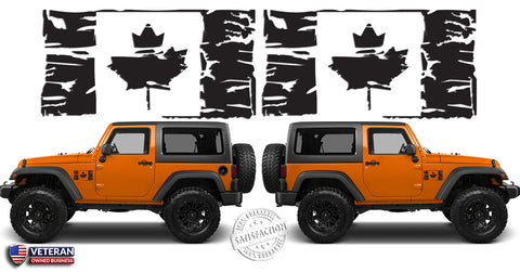 "(2) 6 or 12"" Flag of Canada Grunge Maple Leaf Distressed Vinyl Decals fits: Jeep Wrangler"