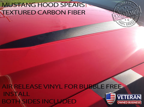 2010-2012 FORD MUSTANG CARBON FIBER HOOD SPEARS RACING VINYL DECAL GT 5.0L