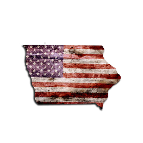 Iowa Distressed Tattered Subdued USA American Flag Vinyl Sticker