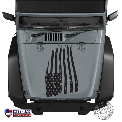 American Distressed Wavy Hood Flag Vinyl Decal