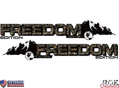 2x Jeep Mountain Freedom Edition camo hood Decal Fits: All Jeeps Wrangler CJ graphics