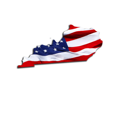 Kentucky Waving USA American Flag. Patriotic Vinyl Sticker