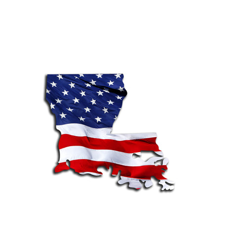 Louisiana Waving USA American Flag. Patriotic Vinyl Sticker