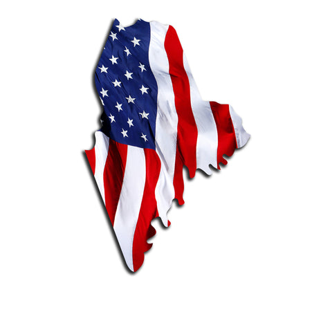 Maine Waving USA American Flag. Patriotic Vinyl Sticker