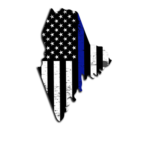Maine Distressed Subdued US Flag Thin Blue Line/Thin Red Line/Thin Green Line Sticker. Support Police/Firefighters/Military