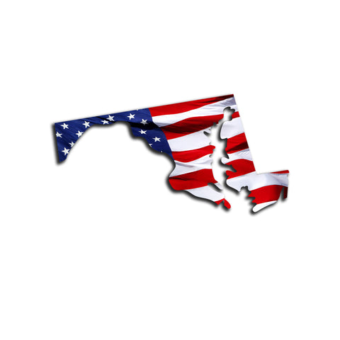 Maryland Waving USA American Flag. Patriotic Vinyl Sticker