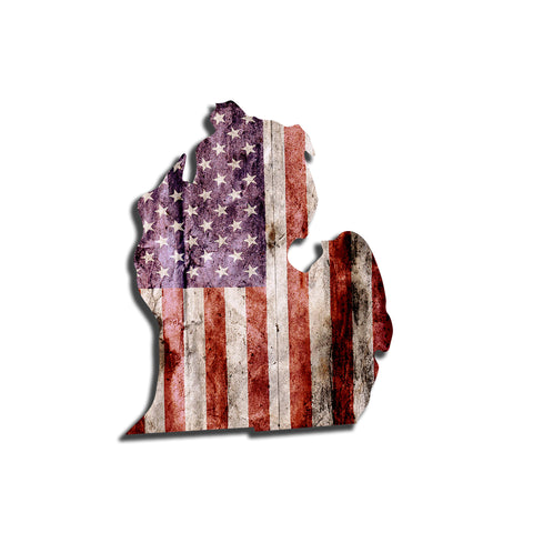 Michigan Distressed Tattered Subdued USA American Flag Vinyl Sticker