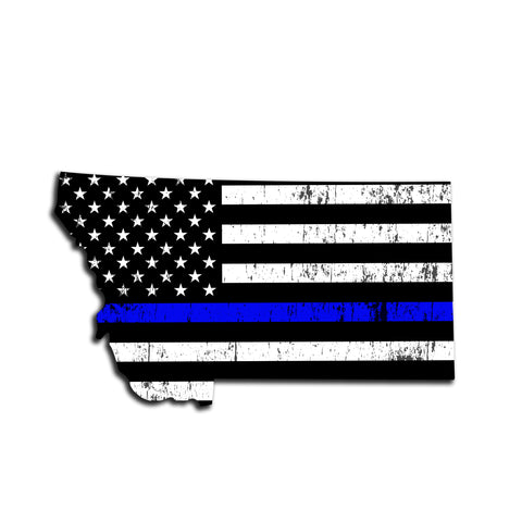 Montana Distressed Subdued US Flag Thin Blue Line/Thin Red Line/Thin Green Line Sticker. Support Police/Firefighters/Military