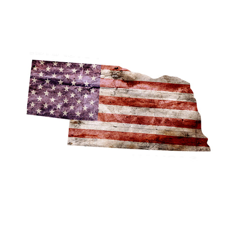Nebraska Distressed Tattered Subdued USA American Flag Vinyl Sticker