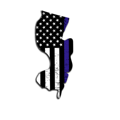 New Jersey Distressed Subdued US Flag Thin Blue Line/Thin Red Line/Thin Green Line Sticker. Support Police/Firefighters/Military