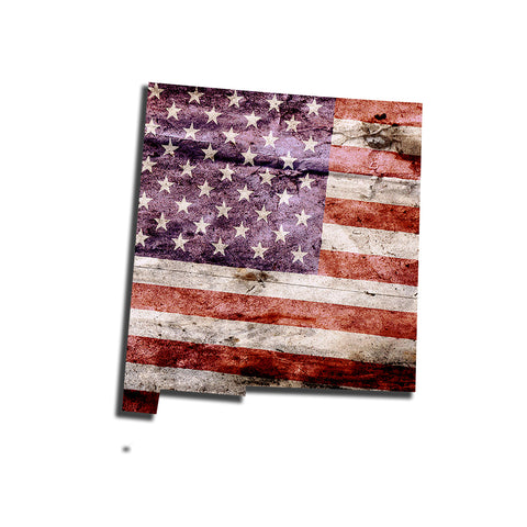 New Mexico Distressed Tattered Subdued USA American Flag Vinyl Sticker