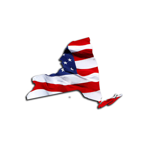 New York Waving USA American Flag. Patriotic Vinyl Sticker