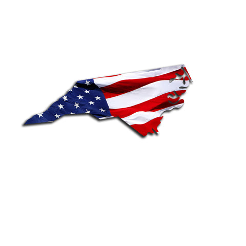 North Carolina Waving USA American Flag. Patriotic Vinyl Sticker
