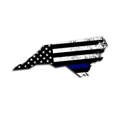 North Carolina Distressed Subdued US Flag Thin Blue Line/Thin Red Line/Thin Green Line Sticker. Support Police/Firefighters/Military