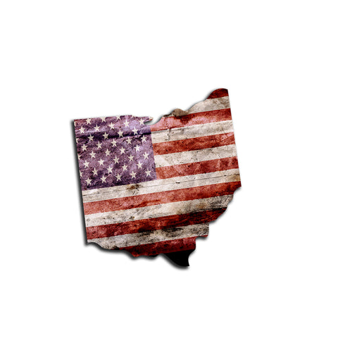 Ohio Distressed Tattered Subdued USA American Flag Vinyl Sticker