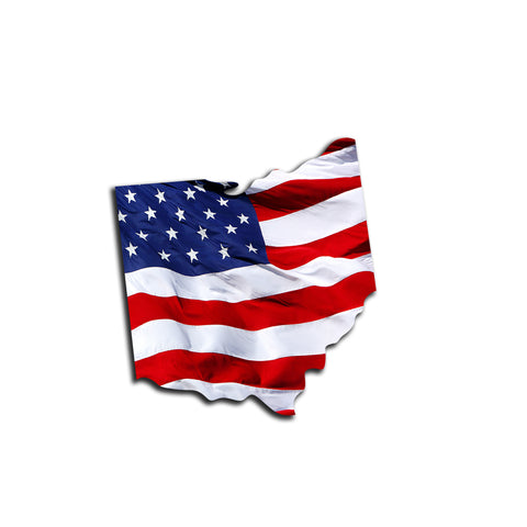 Ohio Waving USA American Flag. Patriotic Vinyl Sticker