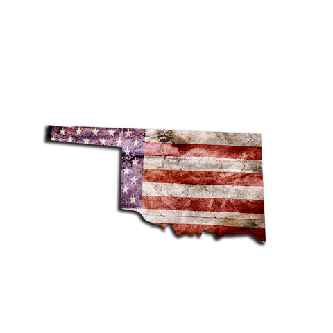 Oklahoma Distressed Tattered Subdued USA American Flag Vinyl Sticker