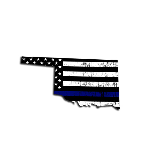 Oklahoma Distressed Subdued US Flag Thin Blue Line/Thin Red Line/Thin Green Line Sticker. Support Police/Firefighters/Military
