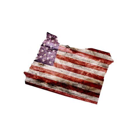 Oregon Distressed Tattered Subdued USA American Flag Vinyl Sticker