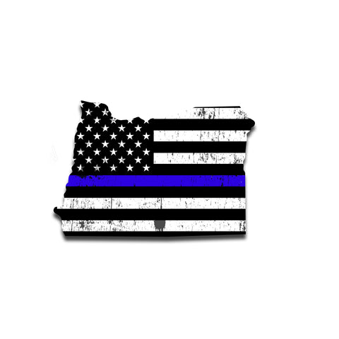 Oregon Distressed Subdued US Flag Thin Blue Line/Thin Red Line/Thin Green Line Sticker. Support Police/Firefighters/Military