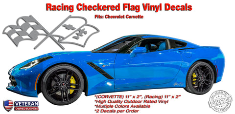 Racing Flag Window Rocker Vinyl Decals fits Corvette ZR1 Z06 C6 C5 C4 Stingray