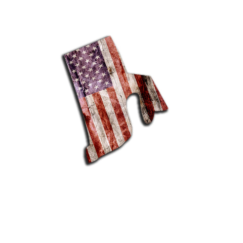 Rhode Island Distressed Tattered Subdued USA American Flag Vinyl Sticker