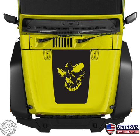 Hood Blackout Skull Evil Face Vinyl Decal fits Jeep Wrangler JK TJ LJ