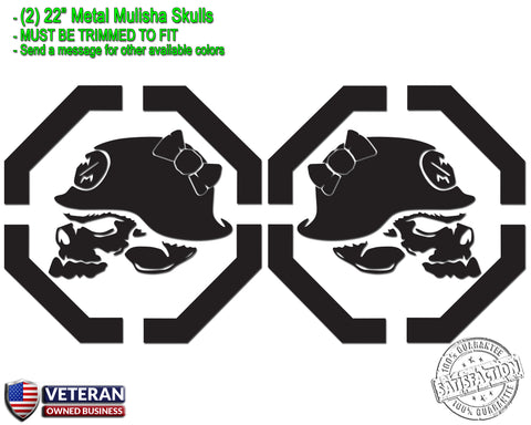 "(2) Metal Mulisha Girl Skulls Bow Vinyl Decals 22"" X 22"" Window Truck Bedside"
