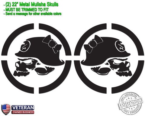 "(2) Metal Mulisha Girl Skull Bow Vinyl Decals 22"" X 22"" Window Truck Bedside"