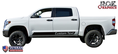 2 Custom Text door stripes Decals Vinyl Stickers Bedside Set: fits Toyota Tundra