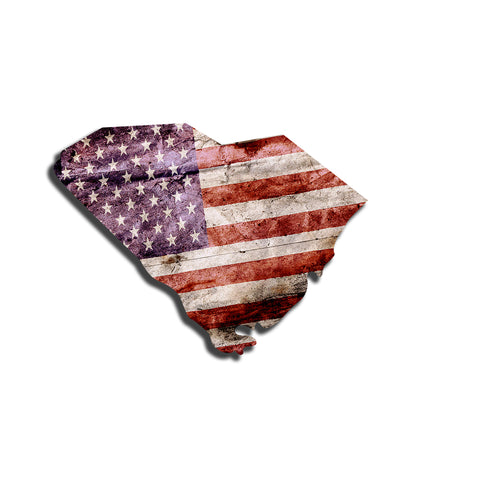 South Carolina Distressed Tattered Subdued USA American Flag Vinyl Sticker