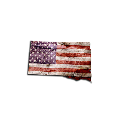 South Dakota Distressed Tattered Subdued USA American Flag Vinyl Sticker