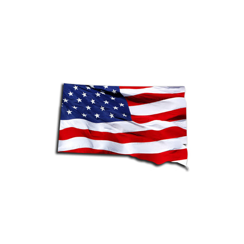 South Dakota Waving USA American Flag. Patriotic Vinyl Sticker