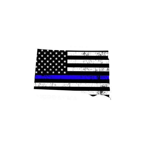 South Dakota Distressed Subdued US Flag Thin Blue Line/Thin Red Line/Thin Green Line Sticker. Support Police/Firefighters/Military