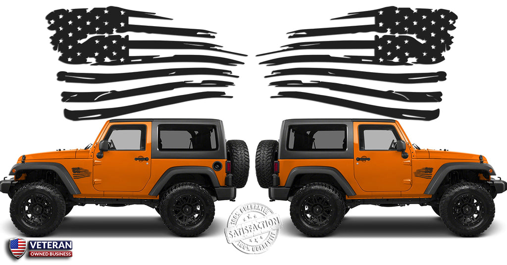 2 6 or 12 inch american distressed wavy flag vinyl decals fits jeep