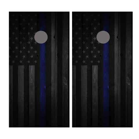 Thin Blue Line Flag Cornhole Board Wrap Vinyl