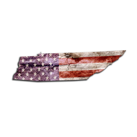 Tennessee Distressed Tattered Subdued USA American Flag Vinyl Sticker