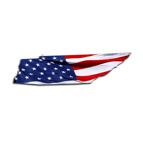 Tennessee Waving USA American Flag. Patriotic Vinyl Sticker