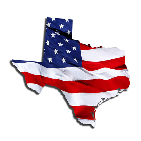 Texas Waving USA American Flag. Patriotic Vinyl Sticker