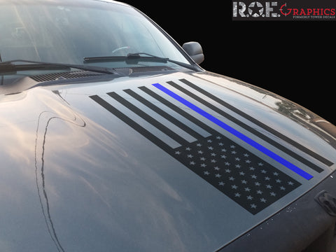 Thin Blue Line American Flag hood vinyl decal firefighter fits: Dodge Ram Chevy Ford Toyota Nissan-0067