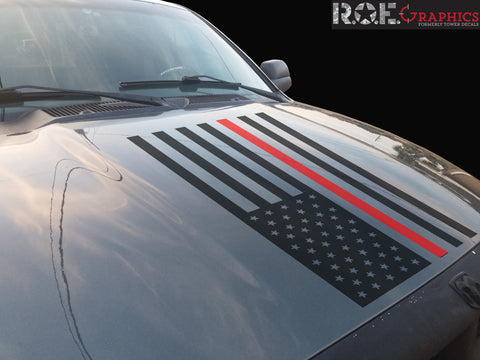 Thin Red Line American Flag hood vinyl decal firefighter fits: Dodge Ram Chevy Ford Toyota Nissan-0068