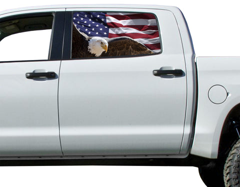 Universal American Flag Bald Eagle Window Tint Perforated Vinyl Fits: Trucks Ford Ram Chevy Nissan Toyota
