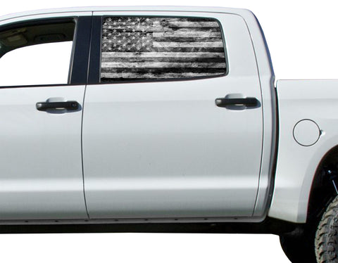 Universal American Flag Black & White Flag Window Tint Perforated Vinyl Fits: Trucks Ford Ram Chevy Nissan Toyota