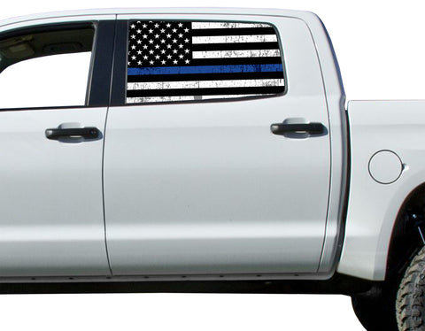 Universal Thin Blue Line Flag Window Tint Perforated Vinyl Fits: Trucks Ford Ram Chevy Nissan Toyota