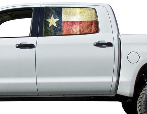 Universal Texas State Flag Window Tint Perforated Vinyl Fits: Trucks Ford Ram Chevy Nissan Toyota
