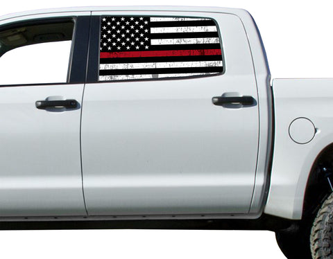 Universal Thin Red Line Flag Window Tint Perforated Vinyl Fits: Trucks Ford Ram Chevy Nissan Toyota