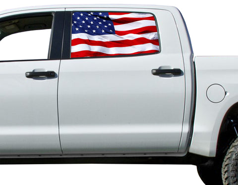 Universal American Flag Waving Window Tint Perforated Vinyl Fits: Trucks Ford Ram Chevy Nissan Toyota