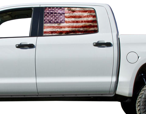Universal American Flag Window Tint Perforated Vinyl Fits: Trucks Ford Ram Chevy Nissan Toyota